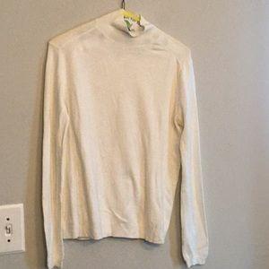 Zara cream mock neck long sleeved cotton sweater m
